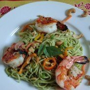 Grilled Shrimp and Pasta With Thai Basil Pesto|Craving Something Healthy