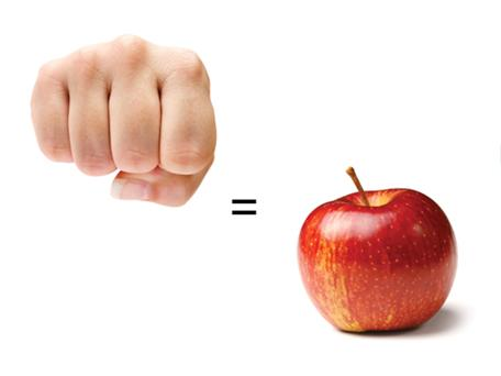 1/2 cup of fruit or vegetable portion size