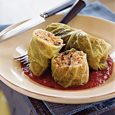 Whole Grain and Italian Sausage–Stuffed Cabbage CookingLight