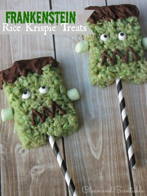 Frankenstein Rice Krispie Treats|Clean and Scentsible