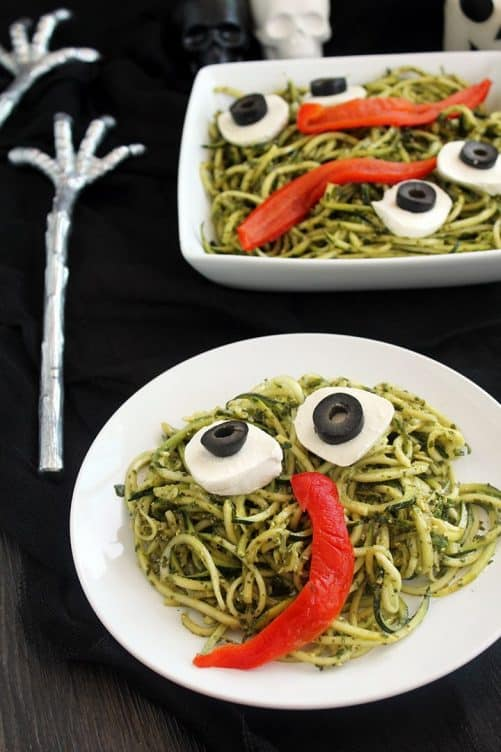 Spooky Green Monster Zucchini Noodles|Spiralized
