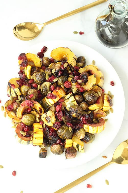 Roasted Brussels sprouts Delicata Squash and Cranberries with Balsamic Syrup| Craving Something Healthy