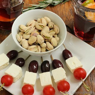Pistachios With Olive, Feta and Tomato Skewers