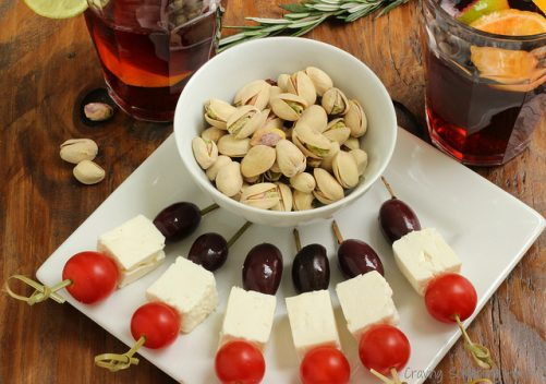 Pistachios with Olive Tomato Feta and Tomato Skewers ~ Mediterranean Escape|Craving Something Healthy