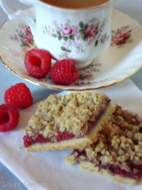 Raspberry Streusel Bars|Craving Something Healthy