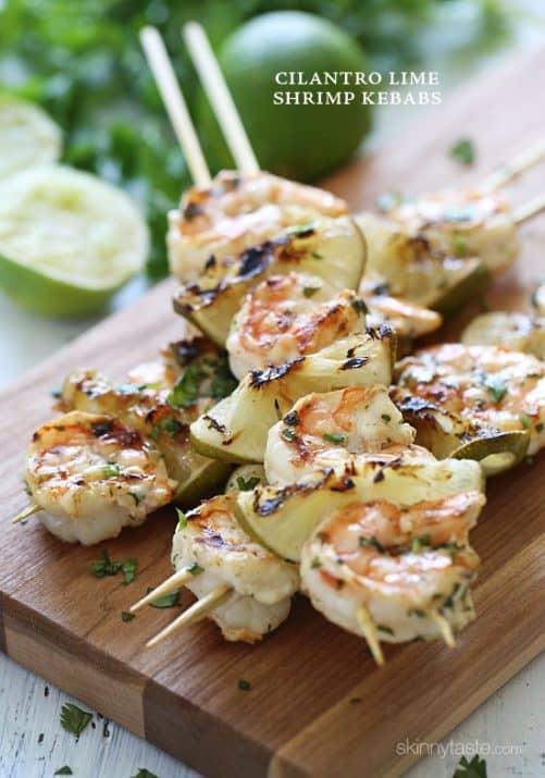 Grilled Cilantro Lime Shrimp Kebabs|Skinny Taste