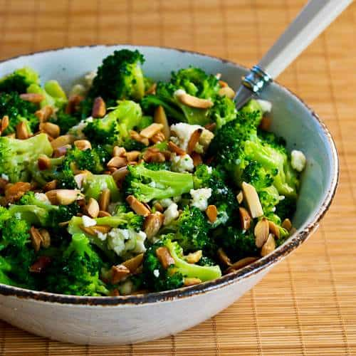 Barely Blanched Broccoli Salad with Feta and Fried Almonds Kalyn's Kitchen