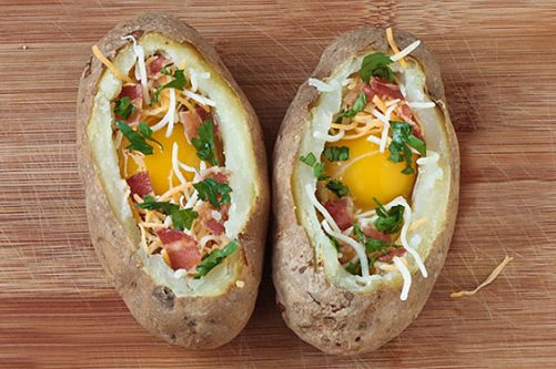 Baked Eggs in Potato Bowls Gimme Some Oven