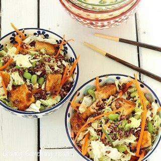 Sesame Tofu Chopped Salad With Red Quinoa
