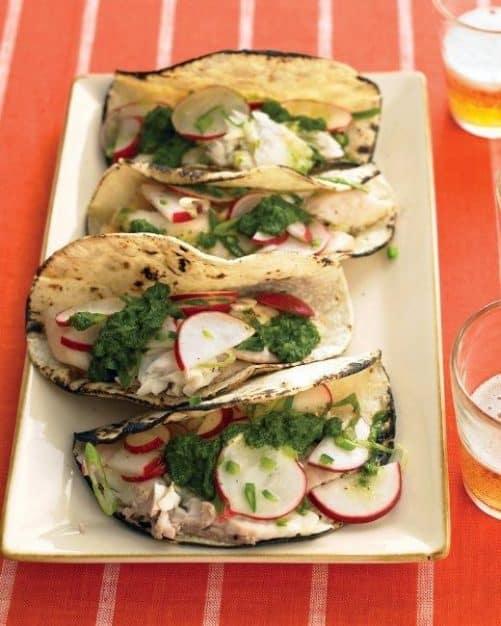 Fish Tacos with Salsa Verde and Radish Salad|Martha Stewart