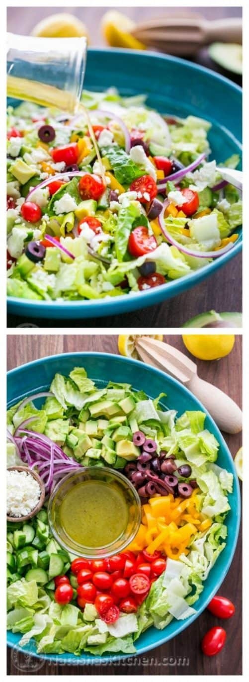 Greek Salad with Zesty Lemon Dressing|Natasha's Kitchen
