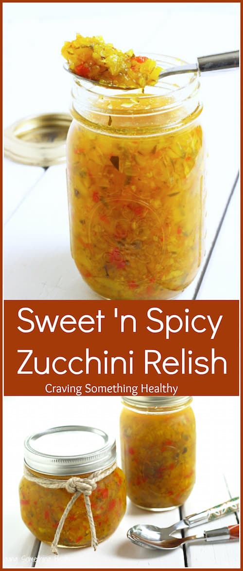 Jars of homemade Sweet 'n Spicy Zucchini Relish by Craving Something Healthy