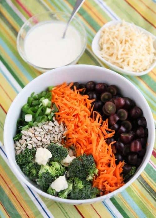Broccoli Cauliflower Carrot Salad|Jeanett's Healthy Living