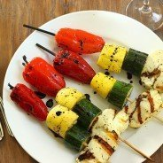 Grilled Stoplight Vegetables with Halloumi|Craving Something Healthy