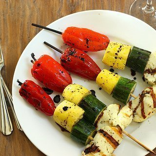 Grilled Stoplight Vegetable Skewers with Halloumi