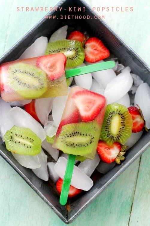 Strawberry Kiwi Fruit Popsicles|Diethood
