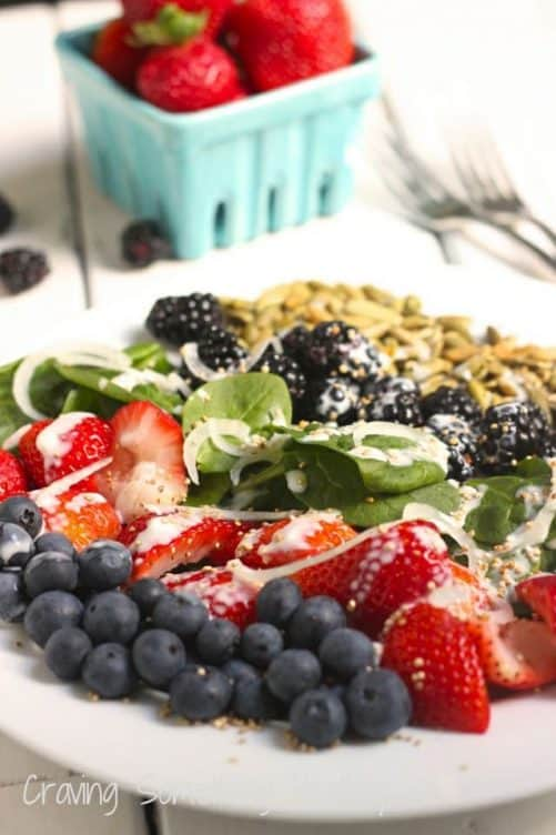 Very Berry Spinach Salad with Popped Quinoa|Craving Something Healthy