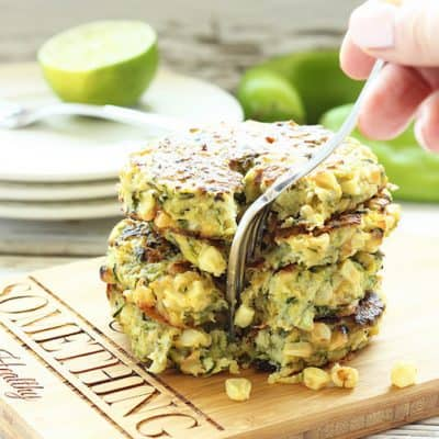 Baked Zucchini Fritters with Grilled Corn and Hatch Chiles