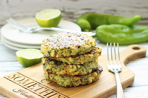 Zucchini Fritters with Grilled Corn and Hatch Chiles | Craving Something Healthy