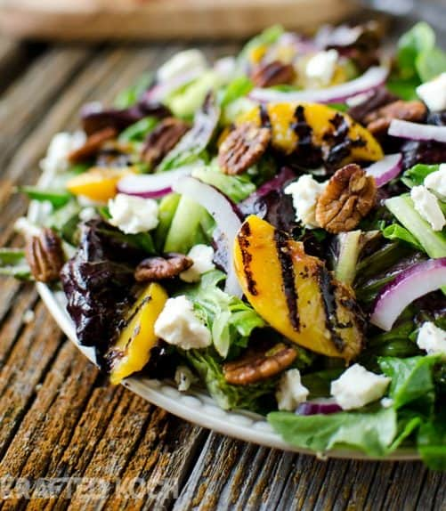 Grilled-Peach-Honey-Goat-Cheese-Spiced-Pecan-Salad-Krafted-Koch