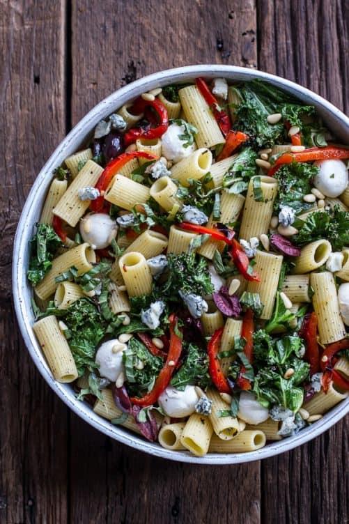Grilled Kale & Red Papper Tuscan Pasta Salad|Half Baked Harvest