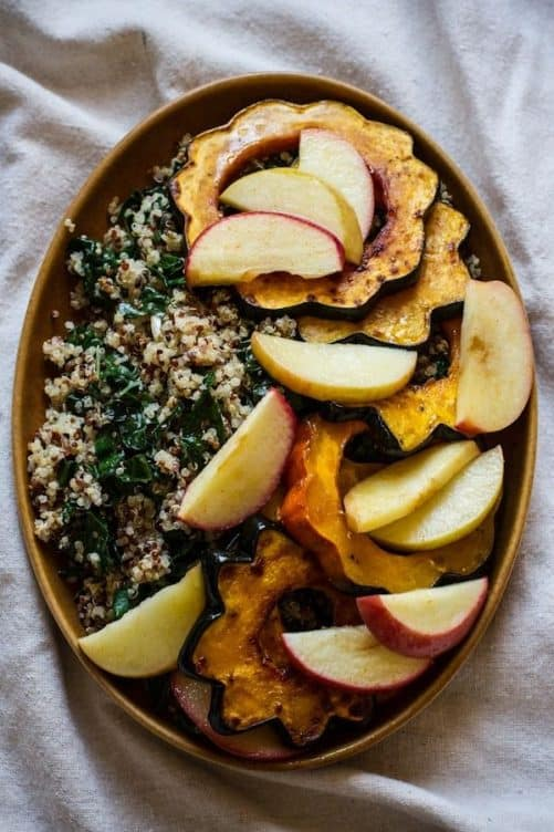 Roasted Acorn Squash and Apples with Quinoa Kale and Tahini Maple Dressing|Edible Perspective