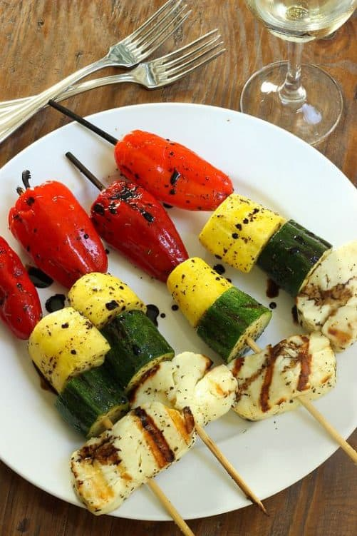 Grilled Stoplight Skewers with Halloumi|Craving Something Healthy