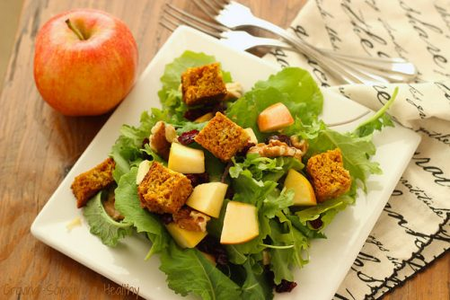 Harvest Salad with Baby Kale and Pumpkin Bread Croutons|Craving Something Healthy