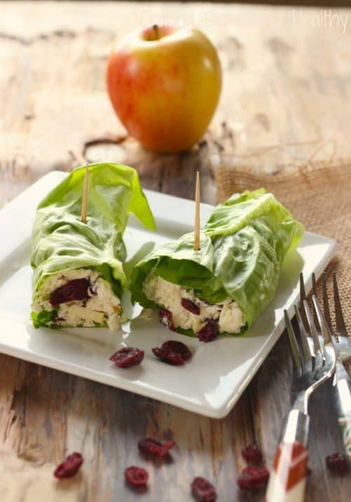 Cranberry Chicken Salad Lettuce Rollups Craving Something Healthy