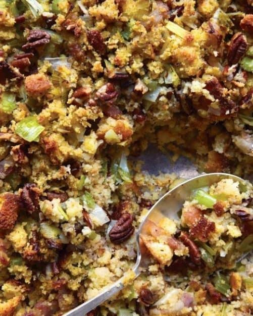 Cornbread Bacon Leek and Pecan Stuffing|Martha Stewart