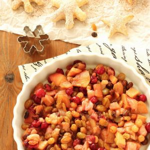 Spiced Winter Fruit Compote with Raisin Balsamic Syrup