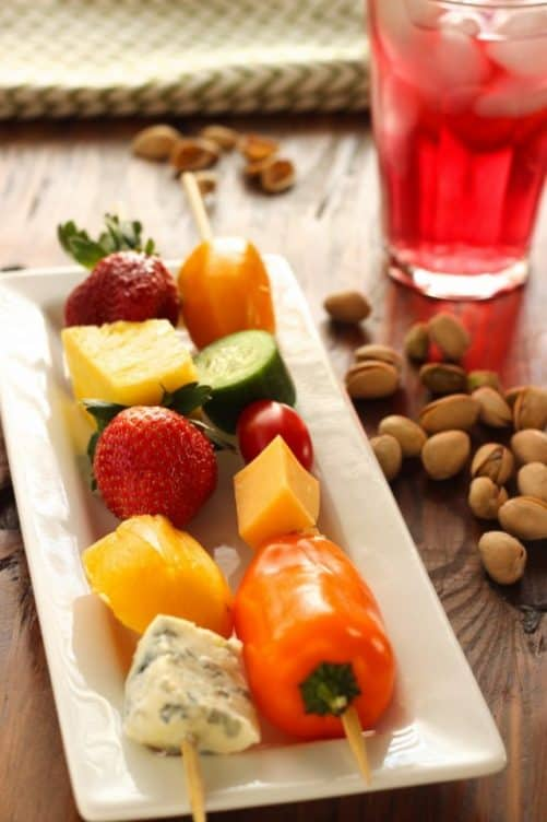 Fruit, Vegetable and Cheese Skewers with Pistachios|Craving Something Healthy