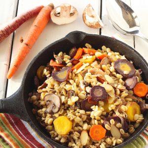 Warm Barley Mushroom Salad {Meatless Monday}