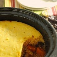 Slow Cooker Smoky Barbecue Chicken Pot Pie with Cornbread Crust|Craving Something Healthy