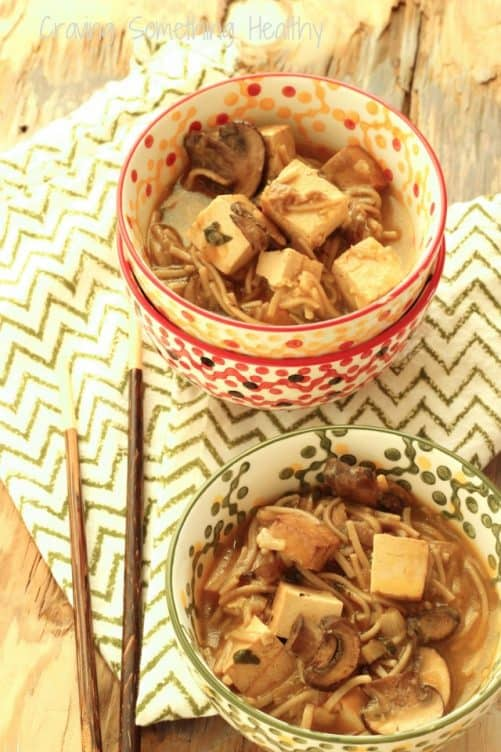Miso Noodle Bowls with Tofu and Mushrooms|Craving Something Healthy