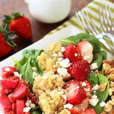Strawberry Rhubarb Spinach Salad