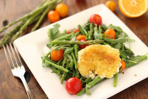 Asparagus & Tomato Salad with Fried Goat Cheese Rounds|Craving Something Healthy