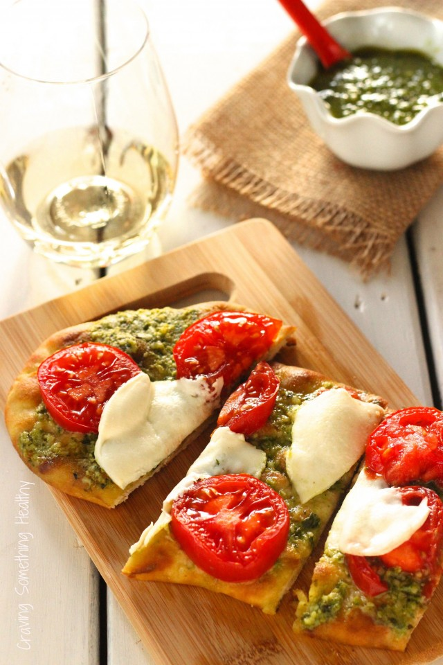 Pesto Tomato Flatbread Pizza|Craving Something Healthy