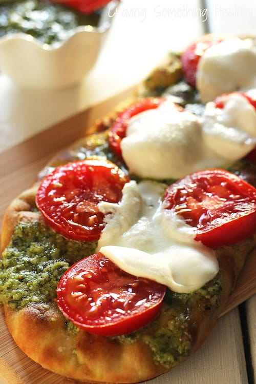 Grilled Pesto Tomato Flatbread|Craving Something Healthy