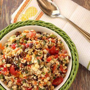 Southwest Cauliflower Rice Confetti Salad {Meatless Monday}