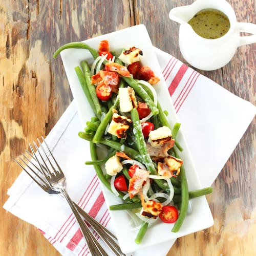 Summer Green Bean Salad with Grilled Halloumi | Craving Something Healthy