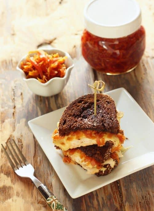 Smoked Turkey Reuben Sandwich with Golden Sauerkraut Craving Something Healthy