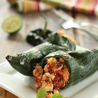 Sofritas Stuffed Poblano Peppers {Meatless Monday}