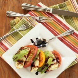 Heirloom Tomato, Avocado and Grilled Halloumi Caprese Salad