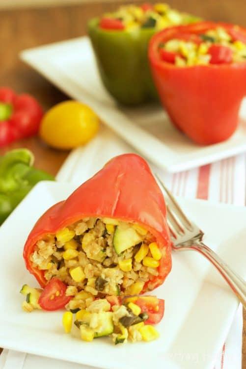 Easy Freezer Meal Vegetarian Stuffed Peppers