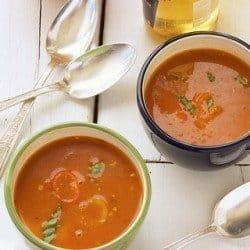 Creamy Mediterranean Tomato Hummus Soup