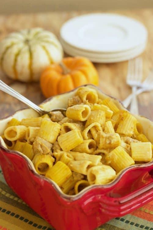 Rigatoni Pasta with Sweet Italian Sausage and Pumpkin Cream Sauce|Craving Something Healthy