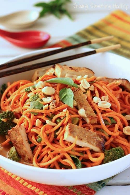 "Sesame Peanut Sweet Potato ""Noodles"" with Tofu {Meatless Monday}"
