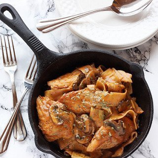 Skillet Tarragon Chicken with Noodles