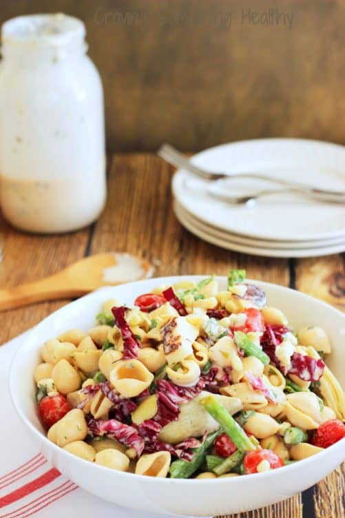 Farmers Market Pasta Salad with Lemon-Herb Buttermilk Dressing|Craving Something Healthy